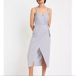 Urban Outfitters UO Linen Side-Tie Midi Wrap Dress